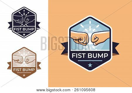 Badge for friendship with fist bump. Concept icons with hands, ribbon and bang. Vector illustration. poster