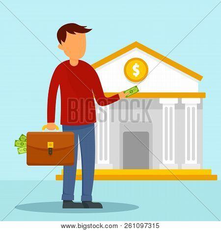 Man Take Money Case To Bank Concept Background. Flat Illustration Of Man Take Money Case To Bank Vec