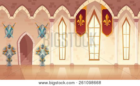 Vector Castle Hall, Hallway In Medieval Palace, Ballroom For Dancing And Royal Receptions. Rich Inte