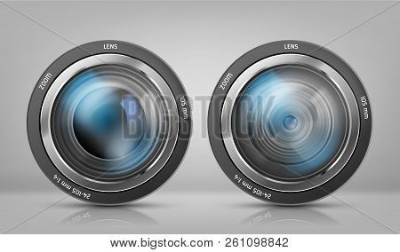 Vector Realistic Clipart With Two Camera Lenses, Photo Objectives With Zoom Isolated On White Backgr