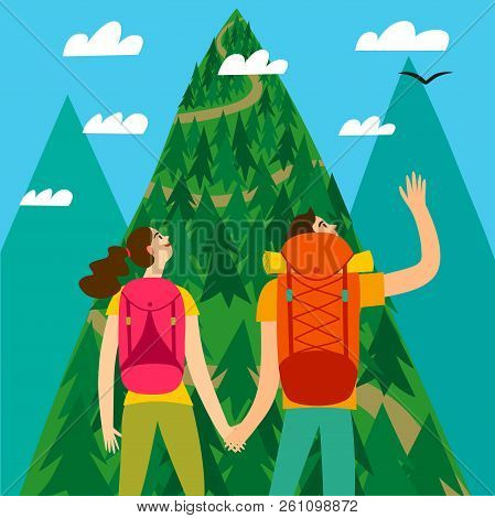 A Pair Of Travelers With A Large Backpacks Looking At The Mountain. Romantic Backpacker Illustration
