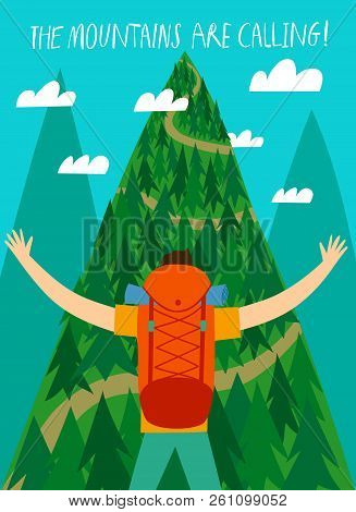 Cartoon Traveler With A Large Backpack Looking At The Mountain. The Mountains Are Calling Title. Bac