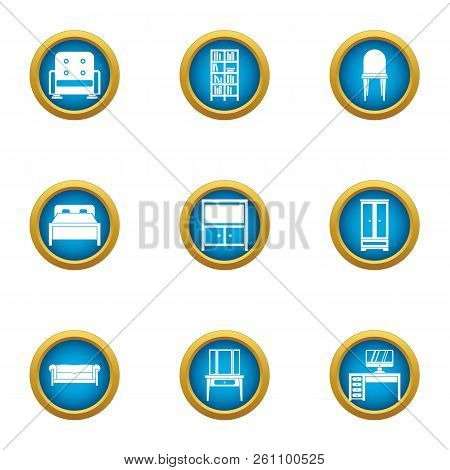 Vintage Room Icons Set. Flat Set Of 9 Vintage Room Vector Icons For Web Isolated On White Background