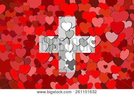 Switzerland Flag Made Of Hearts Background - Illustration,  Civil Ensign Of Switzerland