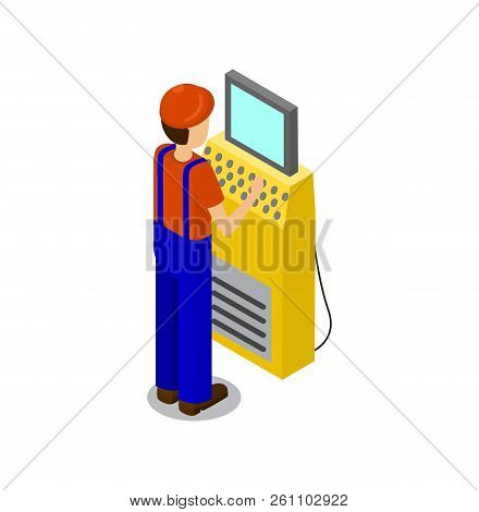 Employee Typing Input Data On Computer Used To Control Factory Process, Man Wearing Uniform And Helm