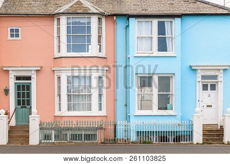 Colourful Terraced Houses In Southwold, A Popular Seaside Town In The Uk