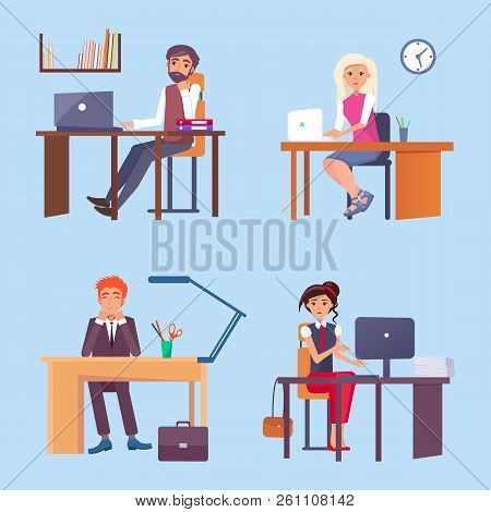 Office Employees Sit At Desks With Computers Set. Workers Do Their Job. Men And Women In Formal Clot