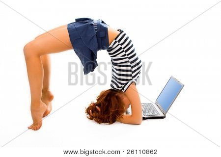 beauty girl stand on head with laptop on white background