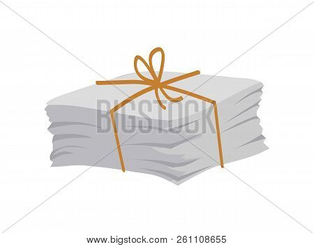 Paper Pile Tied With Lace And Bow On Top, Newspaper Magazines, Pages Heap, Wastepaper Ready To Be Re