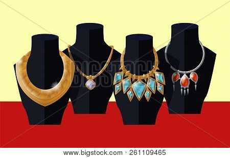Set Of Luxury Golden Necklaces On Black Mannequins Vector Isolated. Rich Models Of Chaplets Jewelry