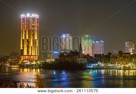 Cairo, Egypt - December 23, 2017: The Luxury Hotels In Cairo Located On The Banks Of Nile River And