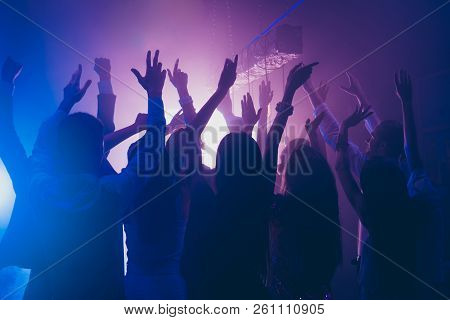 Fans Rest, Relax, Chill Waving Raised Hands Cheering In Night Club Having Fun, Carefree, Careless Mo