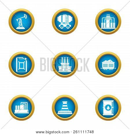 Mineral Oil Icons Set. Flat Set Of 9 Mineral Oil Vector Icons For Web Isolated On White Background