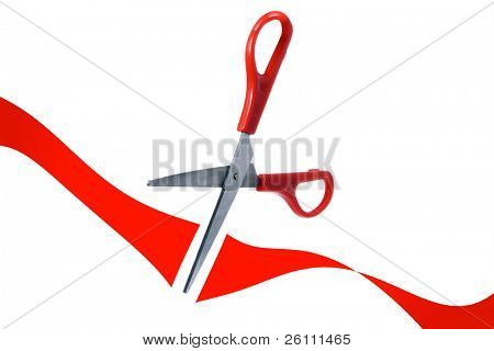 scissors cut red ribbon in grand opening on white background