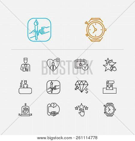 Support Icons Set. Quality And Support Icons With Support, Teamwork And Loyalty. Set Of Gesture For