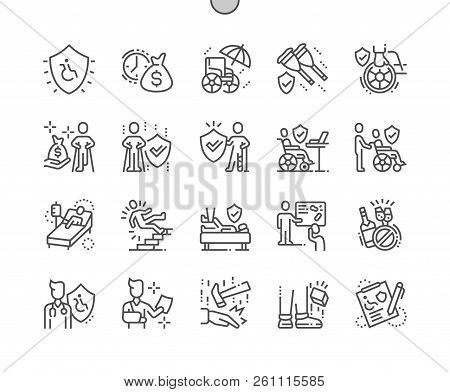 Disability Insurance Well-crafted Pixel Perfect Vector Thin Line Icons 30 2x Grid For Web Graphics A
