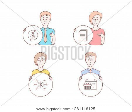 People Hand Drawn Style. Set Of Dollar Exchange, Copy Files And Money Exchange Icons. Christmas Cale