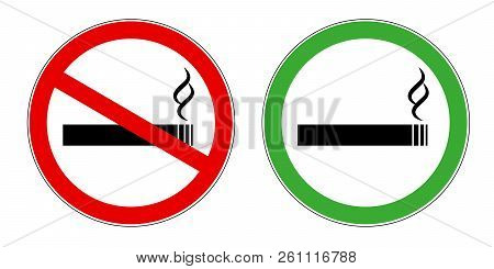 Smoking Area And No Smoking Area Red And Green Sign Symbol For Public Areas Allowed And Forbidden Ve