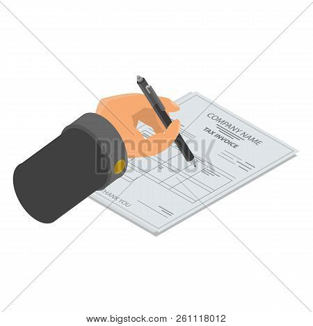 Sign Tax Invoice Icon. Isometric Of Sign Tax Invoice Vector Icon For Web Design Isolated On White Ba