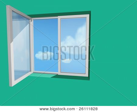 open window in green wall and blue sky and clouds