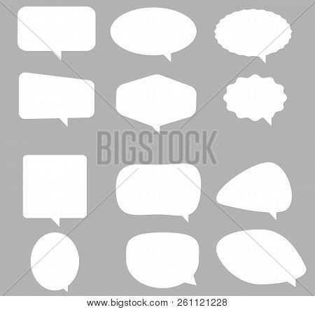 Speech Bubble Icon On Gray Background. Flat Style. Blank Empty White Speech Bubbles. Speech Bubble S