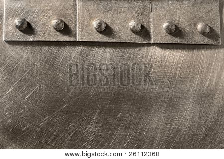 riveted seam on the metal scratched sheet poster