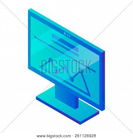 Computer Monitor Graph Icon. Isometric Of Computer Monitor Graph Vector Icon For Web Design Isolated