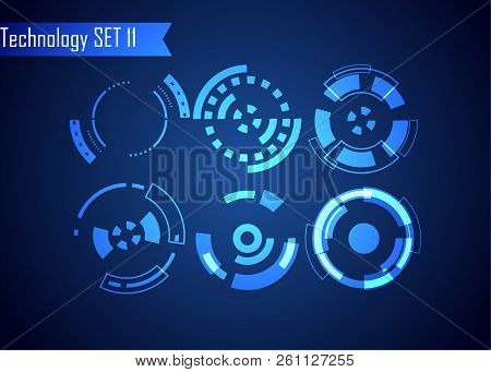 Set Of Circle Abstract Digital Technology Ui Futuristic Hud Virtual Interface Elements Sci- Fi Moder