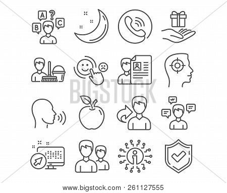 Set Of Cleaning Service, Job Interview And Human Sing Icons. Quiz Test, Conversation Messages And Cu