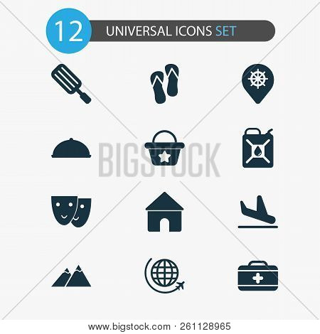 Journey Icons Set With House, The Mountains, Petrol And Other Popsicle Elements. Isolated  Illustrat