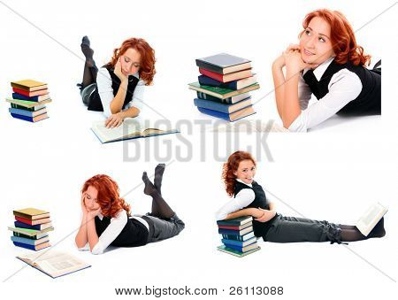 young beauty student girl over white background