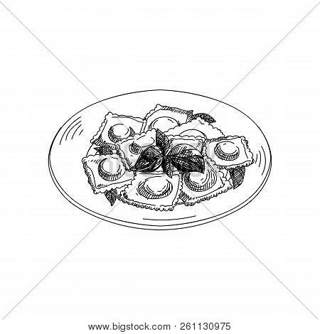 Vector Hand Drawn Ravioli. Dishes Of Italian Cuisine. Detailed Retro Style Illustration. Vintage Ske