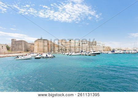 Otranto, Apulia, Italy - Motorboats At The Harbor Of Otranto In Italy