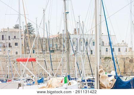 Otranto, Apulia, Italy - A Lot Of Sail Masts In The Harbor Of Otranto