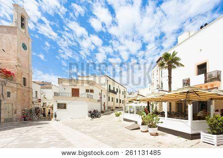 Otranto, Apulia, Italy - May 2017 - A Traditional Restaurant At A Historical Marketplace In Otranto