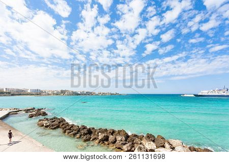 Otranto, Apulia, Italy - A Glance Across The Huge Harbor Entrance Of Otranto