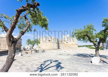 Otranto, Apulia, Italy - Marketplace In Front Of The Historic City Wall Of Otranto