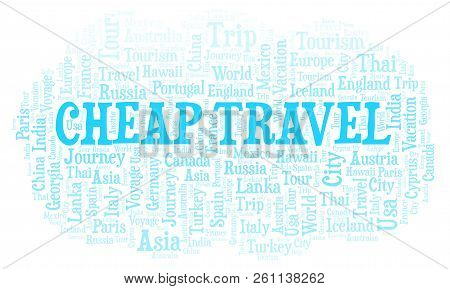 Cheap Travel Word Cloud. Wordcloud Made With Text Only.