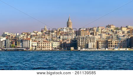 Istanbul, Turkey - April 26, 2017: City View Of Istanbul, Turkey From The Sea Overlooking Galata Tow