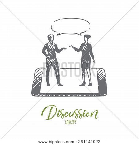 Discussion, Talk, Conversation, Dialog, Person Concept. Hand Drawn Two Women Have Conversation Conce