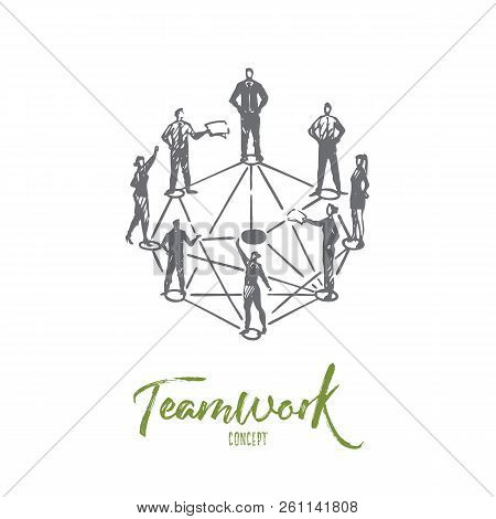 Teamwork, Business, People, Together, Collaboration Concept. Hand Drawn People Communicate In Partne
