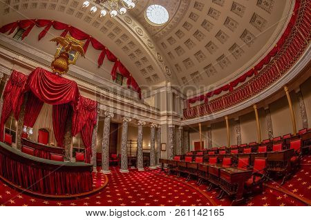 Washington Dc, Usa - September 4, 2018: First Congress Room Decorated With Red Curtains In Capitol B
