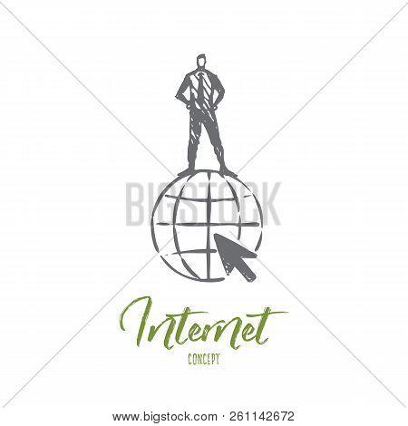 Internet, Globe, Symbol, Website, World Concept. Hand Drawn Man Standing On Symbol Of Internet Conce