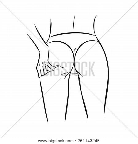 Sketch Line Art Woman Or Girl Slim Body With Hand On Ass. Fashion Illustration For Poster, Banner, L