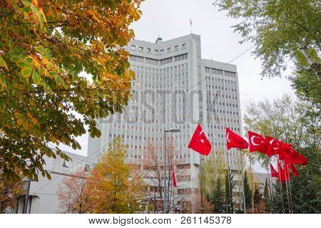 Ministry of Foreign Affairs building during autumn winds - Ankara, Turkey