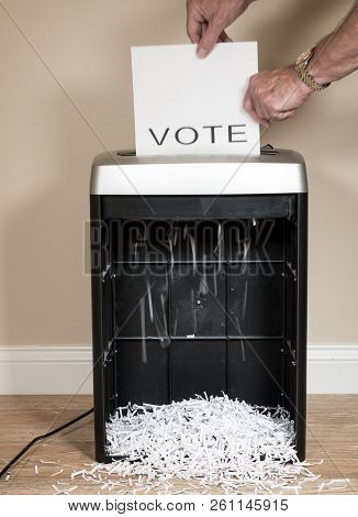 Simple Paper Vote Being Shredded As A Wasted Vote In An Office Shredder