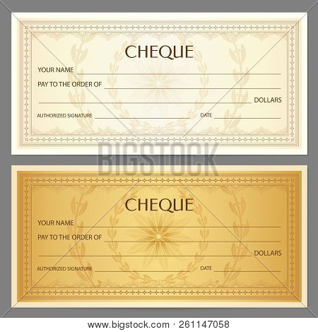 Check, Cheque (Chequebook template). Guilloche pattern with abstract floral watermark, border. Golden background for banknote, money design, currency pattern, bank note, Voucher, Gift certificate, Money coupon or debenture stock poster