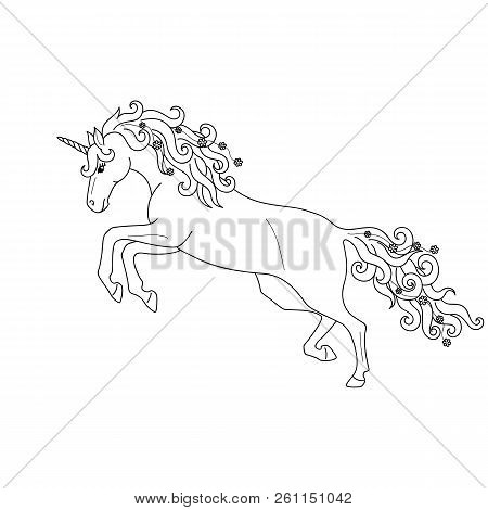 Isolated Black Outline Galloping, Jumping Unicorn On White Background. Side View. Curve Lines. Page