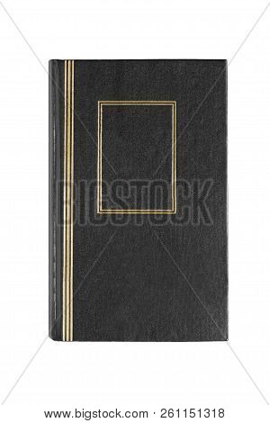 Book with black gilded cover on white background poster