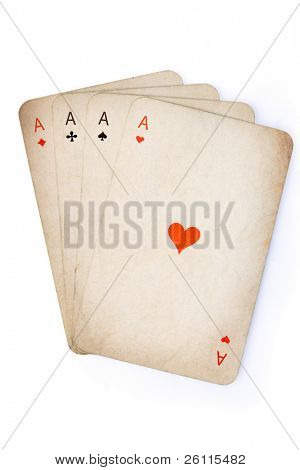 Four aces old cards over white background